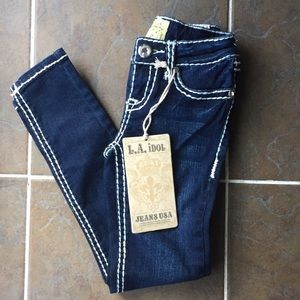 L.A. Idol Girls Skinny Bling Jewel Pocket Jeans